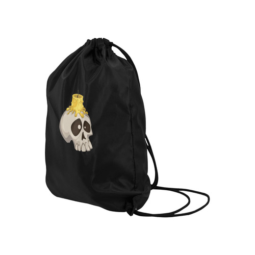 """halloween - skull with candle Large Drawstring Bag Model 1604 (Twin Sides)  16.5""""(W) * 19.3""""(H)"""