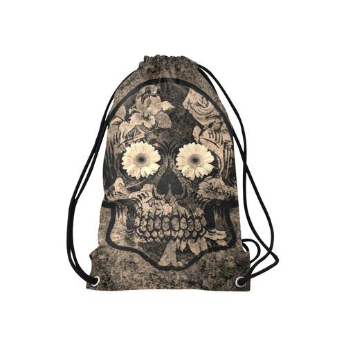 "Smiling flower Sugarskull C Small Drawstring Bag Model 1604 (Twin Sides) 11""(W) * 17.7""(H)"
