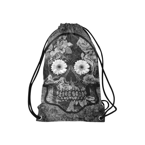 "Smiling flower Sugarskull A Small Drawstring Bag Model 1604 (Twin Sides) 11""(W) * 17.7""(H)"