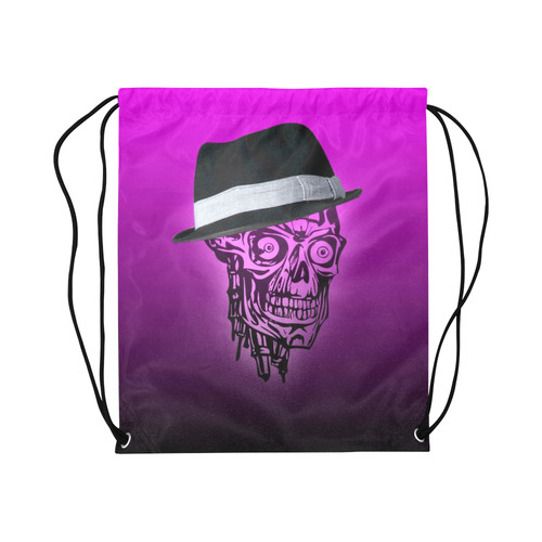 "elegant skull with hat,hot pink Large Drawstring Bag Model 1604 (Twin Sides)  16.5""(W) * 19.3""(H)"