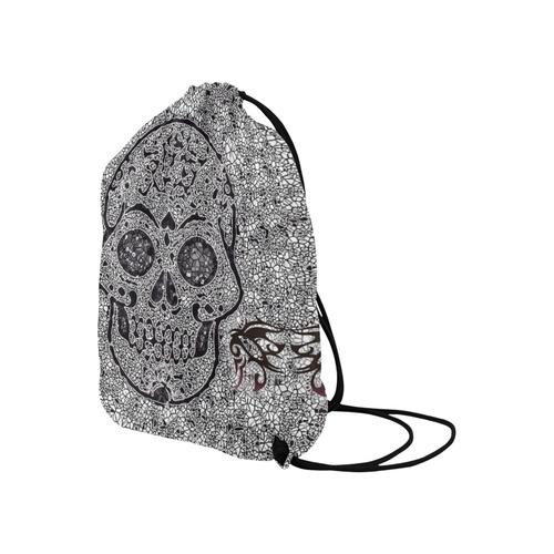 "Mosaic Skull Large Drawstring Bag Model 1604 (Twin Sides)  16.5""(W) * 19.3""(H)"
