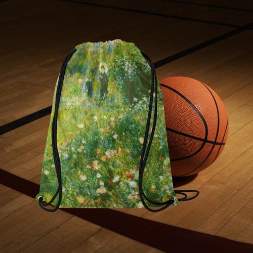 "Renoir Woman with Parasol Garden Floral Large Drawstring Bag Model 1604 (Twin Sides)  16.5""(W) * 19.3""(H)"