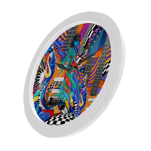 Best Music Clock Guitar Musician Art Print by Juleez Circular Plastic Wall clock