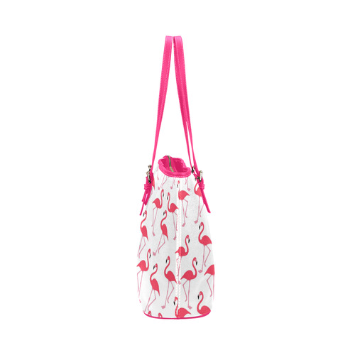 flamingos Leather Tote Bag/Large (Model 1651)