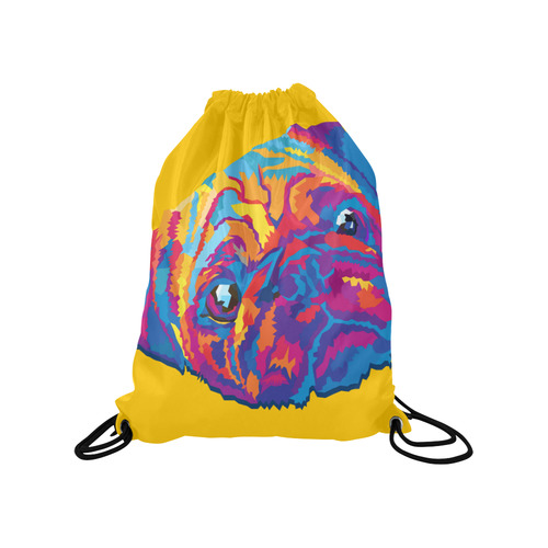 "pop art pug Medium Drawstring Bag Model 1604 (Twin Sides) 13.8""(W) * 18.1""(H)"