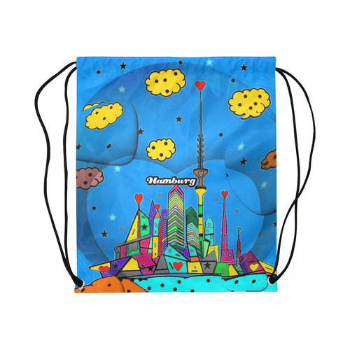 "Hamburg By Nico Bielow Large Drawstring Bag Model 1604 (Twin Sides)  16.5""(W) * 19.3""(H)"