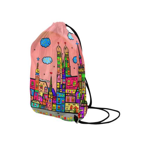 """München By Nico Bielow Medium Drawstring Bag Model 1604 (Twin Sides) 13.8""""(W) * 18.1""""(H)"""