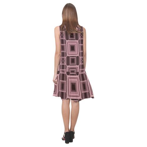 ROSE QUARTZ, Faux stitch Sleeveless Splicing Shift Dress(Model D17)