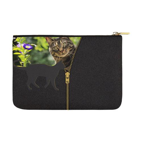 ZIPPER CUTE CAT FLOWERS Carry-All Pouch 12.5''x8.5''