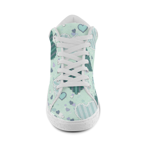 Mint Green Patchwork Hearts Women's Chukka Canvas Shoes (Model 003)