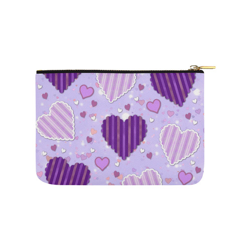 Purple Patchwork Hearts Carry-All Pouch 9.5''x6''