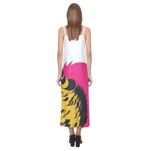 Pink Pattern by Artdream V-Neck Open Fork Long Dress(Model D18)