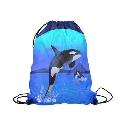 """A Orca Whale Enjoy The Freedom Large Drawstring Bag Model 1604 (Twin Sides)  16.5""""(W) * 19.3""""(H)"""