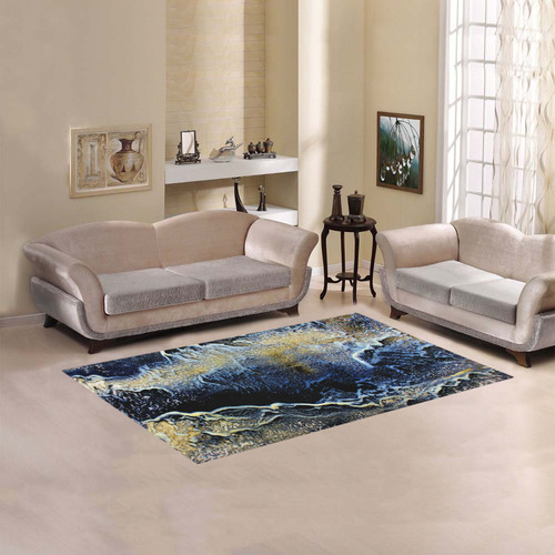Space Universe Marbling Area Rug 5'x3'3''