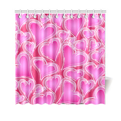 Red Black Valentine Hearts Pattern Shower Curtain 69 Quot X70
