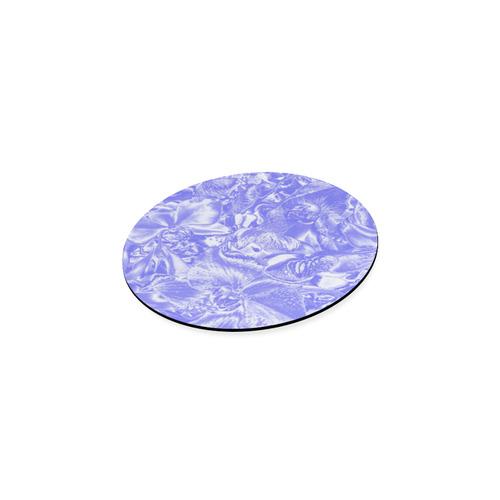 Shimmering floral damask,  blue Round Coaster