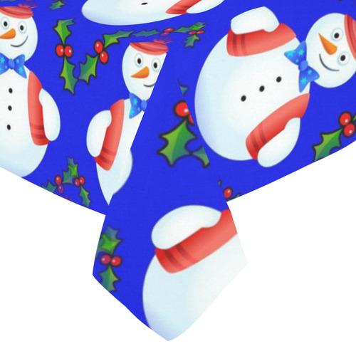 "Snowman Cotton Linen Tablecloth 52""x 70"""