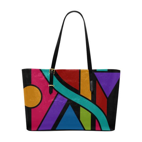 Colored Geometric Art Stripes Triangles Dots Euramerican Tote Bag/Large (Model 1656)