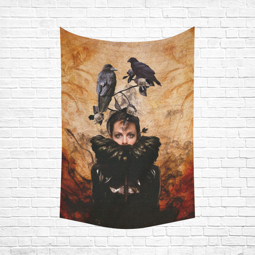 "Crow Woman in Modern Times as Spirit Guide Cotton Linen Wall Tapestry 60""x 90"""