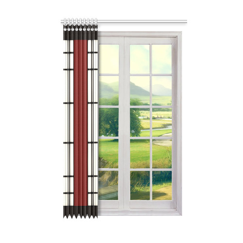 "Shoji - red Window Curtain 50"" x 84""(One Piece)"