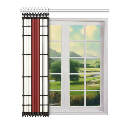 """Shoji - red Window Curtain 52"""" x 63""""(One Piece)"""