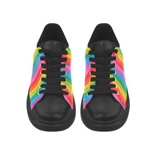 Woven Rainbow Low Top Loafers Womens Shoes (Model 026)