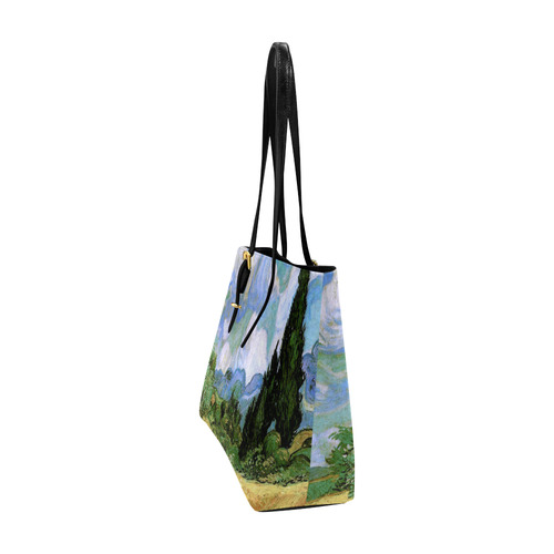Van Gogh Wheat Field Cypresses Nature Landscape Euramerican Tote Bag/Large (Model 1656)