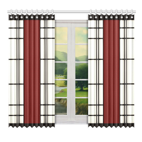 "Shoji - red Window Curtain 52"" x 72""(One Piece)"