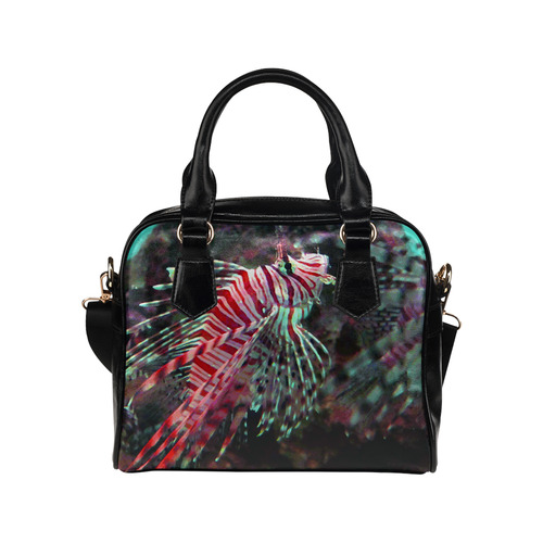 Red Lionfish In Aquarium Shoulder Handbag (Model 1634)