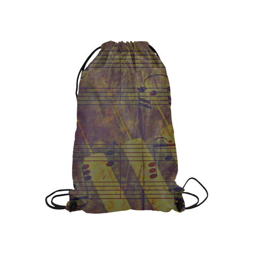 """Music, vintage look A by JamColors Small Drawstring Bag Model 1604 (Twin Sides) 11""""(W) * 17.7""""(H)"""