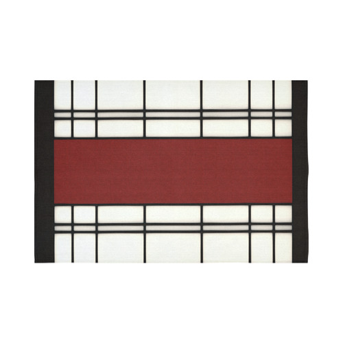 "Shoji - red Cotton Linen Wall Tapestry 90""x 60"""