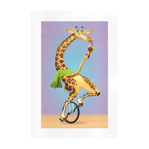 Funny Giraffe on an Unicycle Art Print 19''x28''