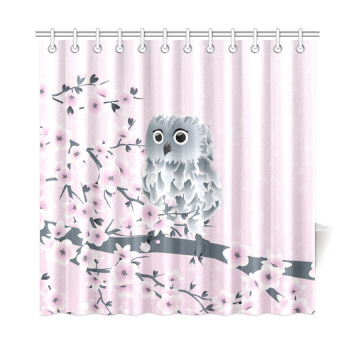 Cute Owl And Cherry Blossoms Pink Girly Shower Curtain 72x72