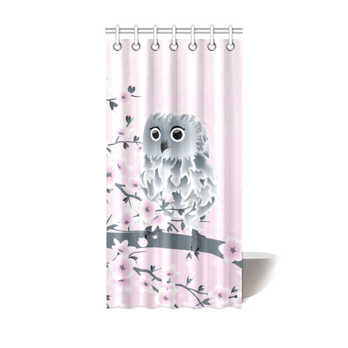 Cute Owl And Cherry Blossoms Pink Girly Shower Curtain 36x72
