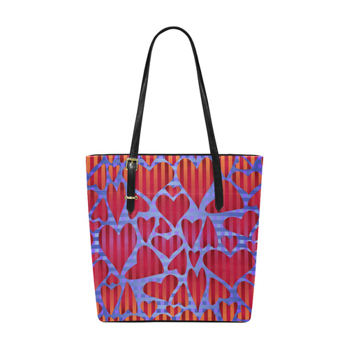 Red Striped Hearts Euramerican Tote Bag/Small (Model 1655)