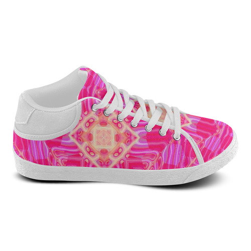Pink And Rose Abstract Pattern Women's Chukka Canvas Shoes (Model 003)