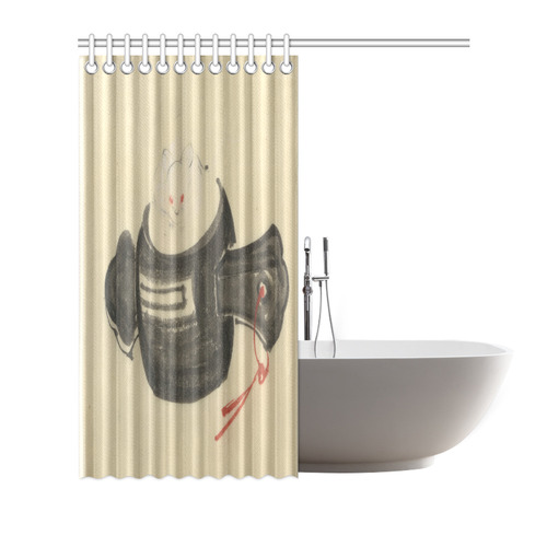 Hokusai Mouse Mallet Red Ribbon Shower Curtain
