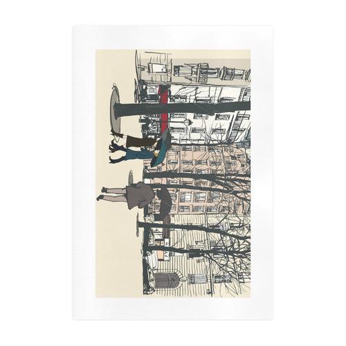 Square in Paris Art Print 19''x28''