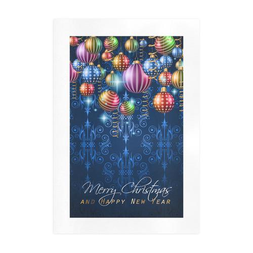Vintage Classic Christmas on Balls and Star Lights Art Print 19''x28''