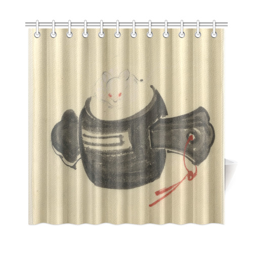 Hokusai Mouse Mallet Red Ribbon Shower Curtain 72x72