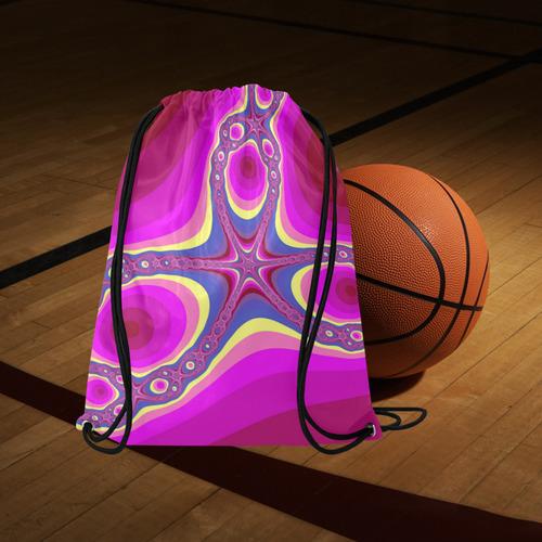 "Fractal in pink Large Drawstring Bag Model 1604 (Twin Sides)  16.5""(W) * 19.3""(H)"