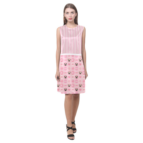 Pastel Pink Valentine Pugs (1) Eos Women's Sleeveless Dress (Model D01)