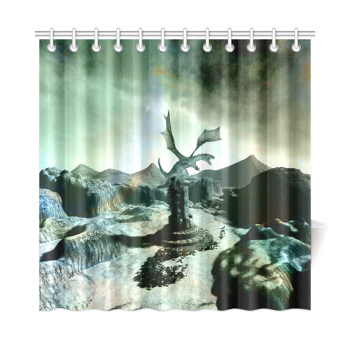 Dragon In A Fantasy Landscape Shower Curtain 72x72