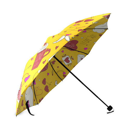 Valentine's Day LOVE HEARTS pattern red pink Foldable Umbrella