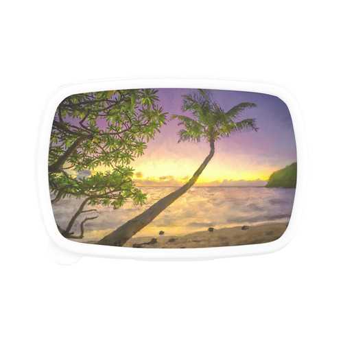 Painting tropical sunset beach with palms Children's Lunch Box