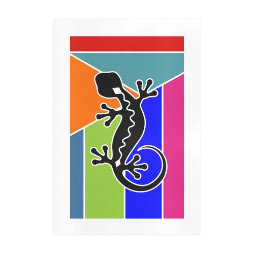 Modern Geometric Mosaic Contrast Gecko Art Print 19''x28''
