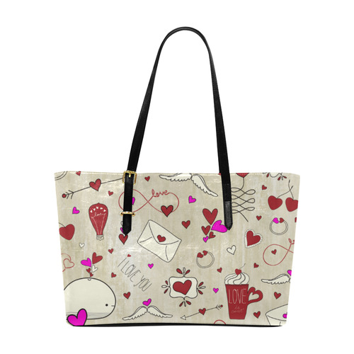 Valentine's Day LOVE HEARTS pattern red pink Euramerican Tote Bag/Large (Model 1656)
