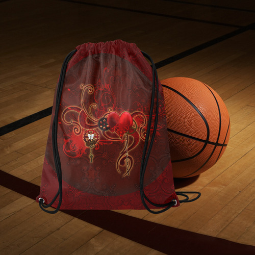 "Wonderful steampunk design with heart Large Drawstring Bag Model 1604 (Twin Sides)  16.5""(W) * 19.3""(H)"