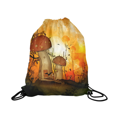 "The mushroom house Large Drawstring Bag Model 1604 (Twin Sides)  16.5""(W) * 19.3""(H)"