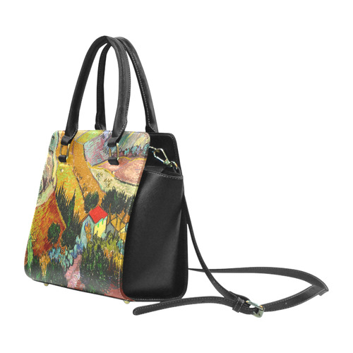 Vincent van Gogh Landscape House Ploughman Classic Shoulder Handbag (Model 1653)